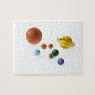 白い背景の太陽系の惑星 ジグソーパズル