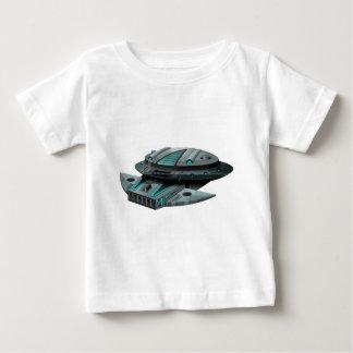 白い背景の黒い宇宙船 ベビーTシャツ