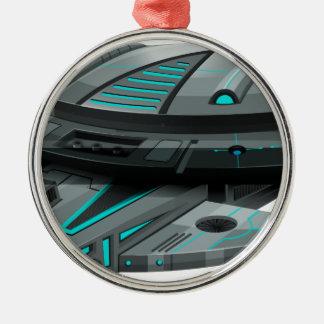 白い背景の黒い宇宙船 メタルオーナメント