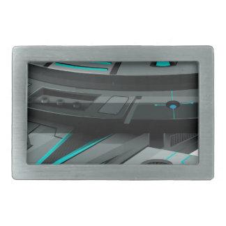白い背景の黒い宇宙船 長方形ベルトバックル