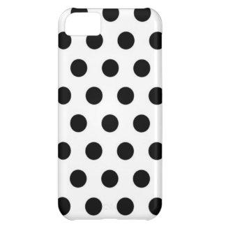 白い背景の黒い水玉模様 iPhone5Cケース