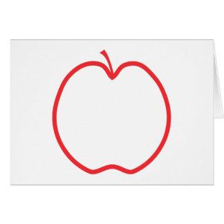 白い背景のAppleの赤い輪郭、 カード