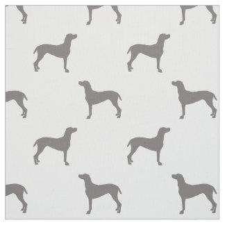 白い背景のWeimaranerの灰色のシルエット ファブリック