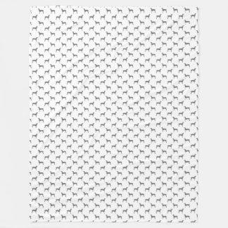 白い背景のWeimaranerの灰色のシルエット フリースブランケット