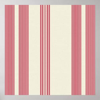 白い背景を離れた薄いピンクの縦ストライプ ポスター