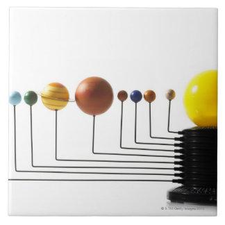白い背景3の太陽系モデル 正方形タイル大