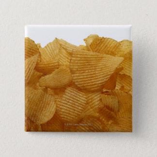 白い背景、DFFのイメージのポテトチップス 5.1CM 正方形バッジ