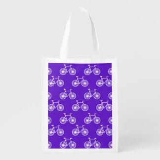 白い自転車、循環パターン; すみれ色の青い紫色 エコバッグ
