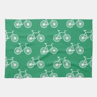 白い自転車、循環パターン; ケリーの緑 キッチンタオル