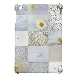 白い色の写真のコラージュ iPad MINIケース