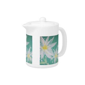 白い花のティーポット