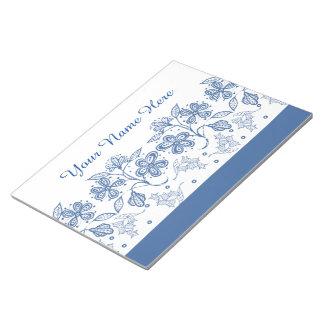 白い花のボーダーメモ帳のカスタムな藍色 ノートパッド