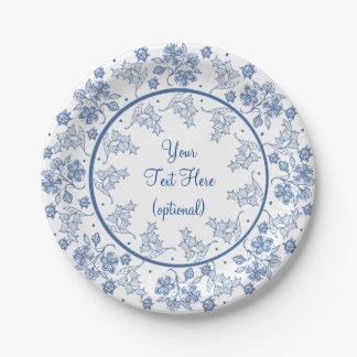 白い花のボーダー紙皿のカスタムなインディゴ ペーパープレート