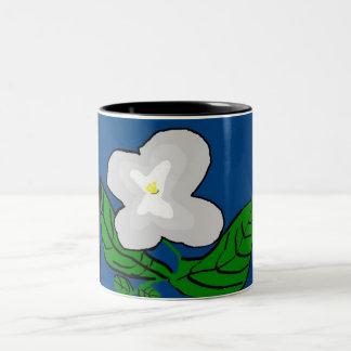 白い花のマグ ツートーンマグカップ