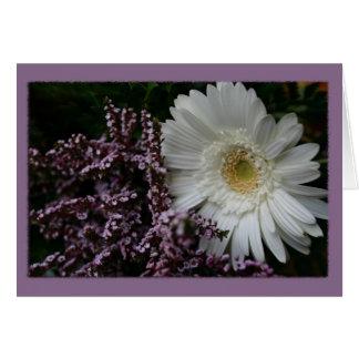 白い花の紫色の背景 グリーティングカード