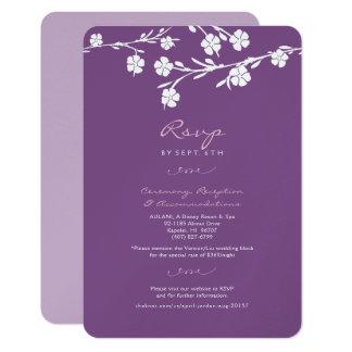 白い花の結婚RSVPの披露宴カード カード