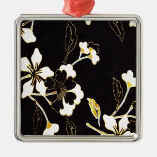 白い花の花の子供部屋の平和かわいくすばらしい素晴らしい メタルオーナメント