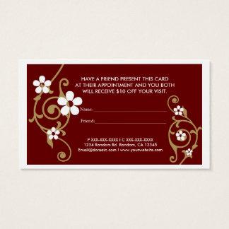 白い花の茶色は友人の名刺を参照します 名刺