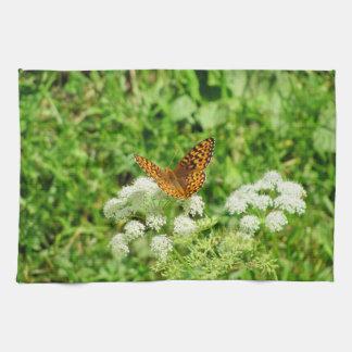白い花の蝶 キッチンタオル