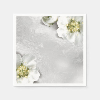 白い花の銀製灰色のガラス金属敏感 スタンダードカクテルナプキン