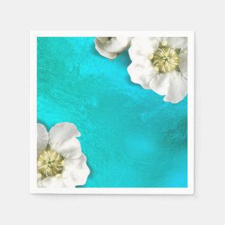 白い花のTiffanyの水のガラス金属敏感 スタンダードカクテルナプキン