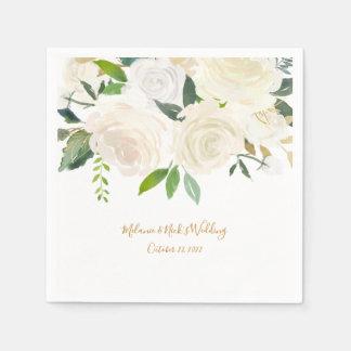 白い花柄 + 装飾を結婚する金ゴールドのtouch スタンダードカクテルナプキン