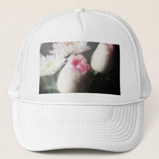 白い菊およびバラ5 -花の芸術 キャップ