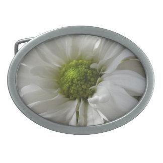 白い菊のベルトの留め金 卵形バックル