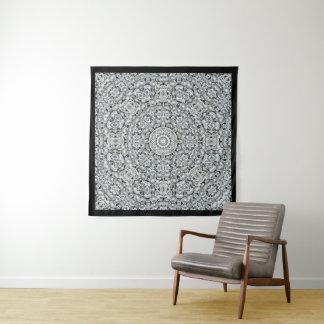 白い葉のヴィンテージの万華鏡のように千変万化するパターンの壁のタペストリー タペストリー