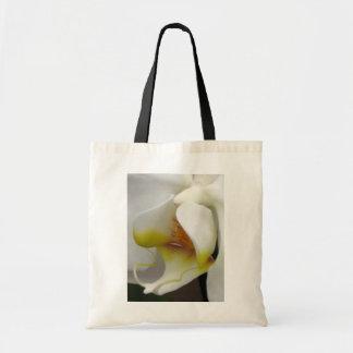 白い蘭のマクロ写真のイメージの予算のトートバック トートバッグ