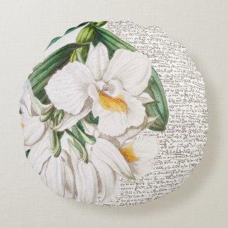 白い蘭の書道 ラウンドクッション