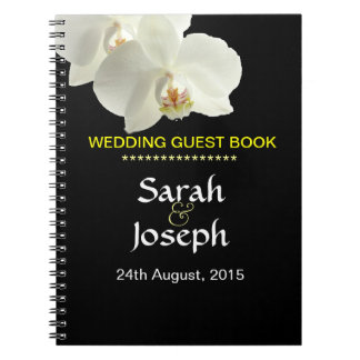 白い蘭の結婚式のゲストのノート ノートブック