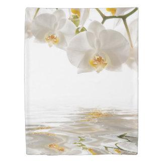白い蘭(側面1)の対の羽毛布団カバー 掛け布団カバー