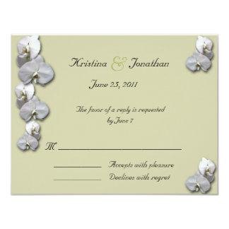 白い蘭RSVP 5.5x4.25の招待状 カード