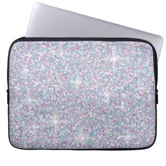 白い虹色のグリッター ラップトップスリーブ