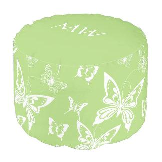 白い蝶が付いている緑のラウンドパフ プーフ