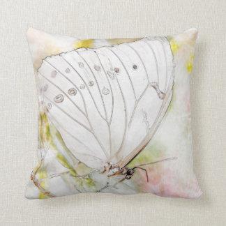 """白い蝶水彩画の装飾用クッション16"""" x 16"""" クッション"""