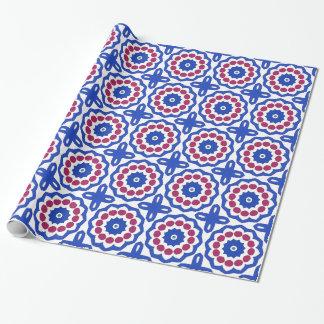 白い覆いの紙の青いマゼンタの円形浮彫り ラッピングペーパー