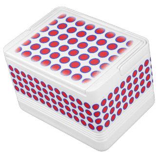 白い赤くおよび青の水玉模様 IGLOOクーラーボックス