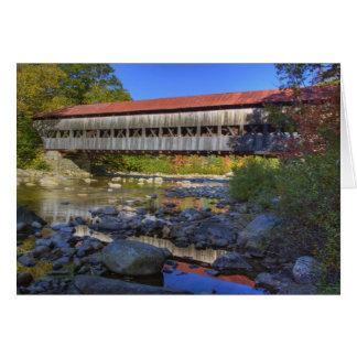 白い速い川上のアルバニーの屋根付橋 カード