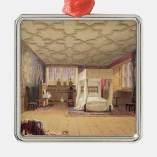 白い部屋、Coteheleの家、c.1830-40 (色 シルバーカラー正方形オーナメント