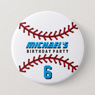 白い野球は誕生会ボタンPinを遊ばします 7.6cm 丸型バッジ