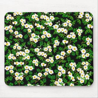 白い野生のばら色の花のマウスパッド マウスパッド