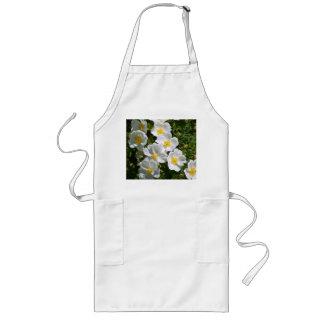 白い野生のバラ ロングエプロン