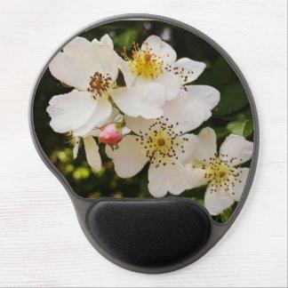 白い野生の花のテーマのゲルのマウスパッド ジェルマウスパッド