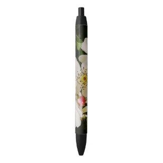 白い野生の花の黒のトリムのペン、黒いインク 黒ボールペン