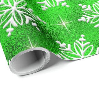白い雪片とのクリスマスの緑 ラッピングペーパー