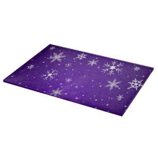 白い雪片の青紫色のガラスまな板 カッティングボード