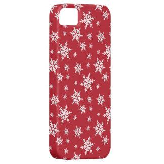 白い雪片のiPhoneの箱との赤 iPhone SE/5/5s ケース