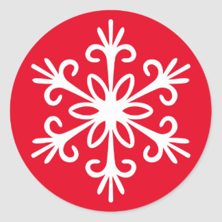 白い雪片。 カスタマイズ可能な背景色 ラウンドシール